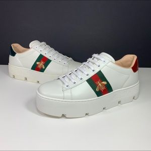 Gucci New Ace Platform Sneaker Bee White Leather